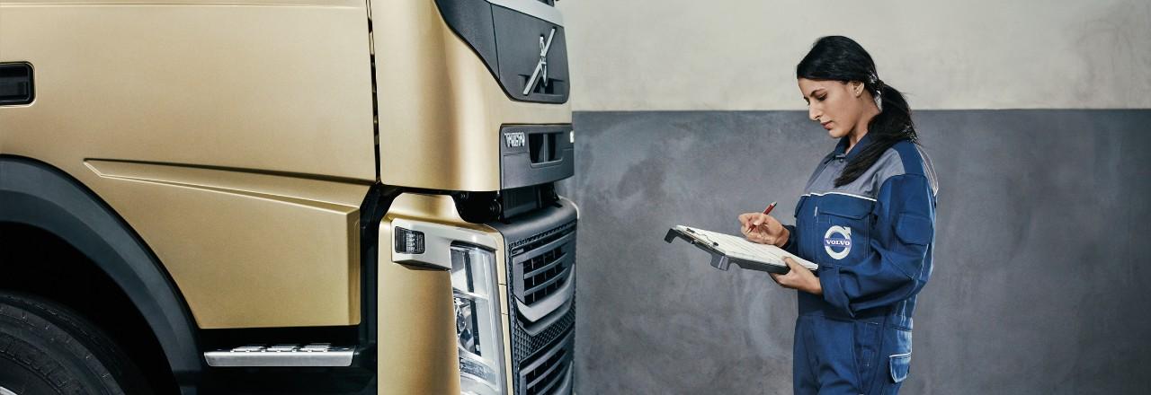 Volvo trucks services servicing contracts gold female technician